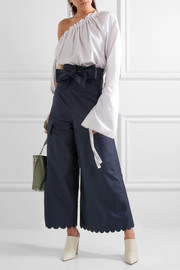 See by Chloé Scalloped cotton-poplin wide-leg pants