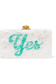 Jean glittered acrylic box clutch