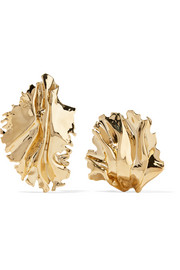 Sea Leaves gold-plated clip earrings