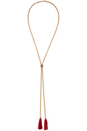 Tasseled gold-tone necklace