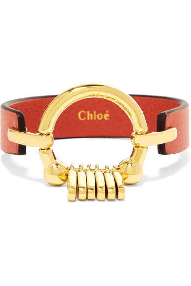 Chloé - Leather And Gold-tone Bracelet - Red