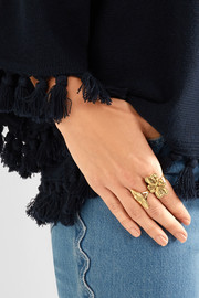Chloé Hammered gold-tone ring