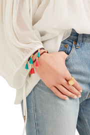 Chloé Gold-tone and tasseled cotton bracelet