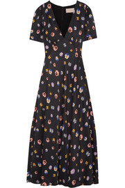 Christopher Kane Printed crepe de chine maxi dress