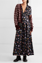 Printed crepe de chine maxi dress