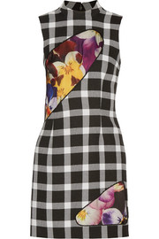 Christopher Kane Mesh and satin-paneled gingham wool-blend mini dress