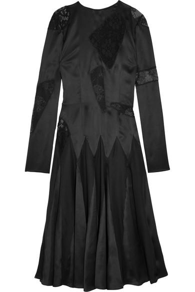Christopher Kane - Lace-paneled Silk-satin Midi Dress - Black