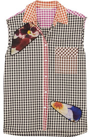 Christopher Kane Tulle-paneled gingham cotton-twill shirt