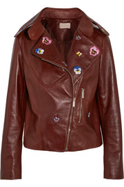 Cropped embroidered leather biker jacket