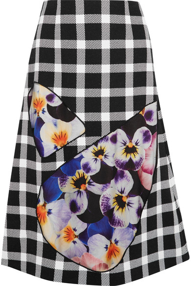 Tulle-paneled gingham wool-blend skirt