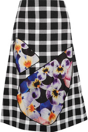 Christopher Kane Tulle-paneled gingham wool-blend skirt