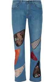 Christopher Kane Sequined lace-paneled mid-rise boyfriend jeans
