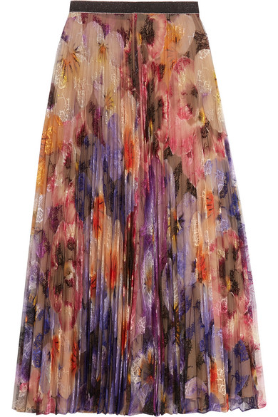 Christopher Kane - Pleated Printed Lace Midi Skirt - Lilac