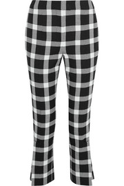 Christopher Kane Cropped gingham wool-blend slim-leg pants