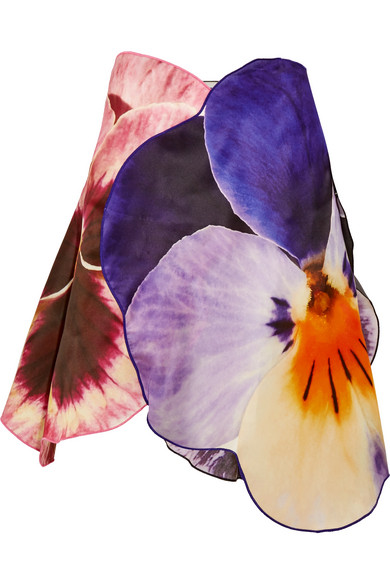 Christopher Kane - Printed Asymmetric Silk Skirt - Purple