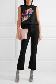 Christopher Kane Tulle-paneled printed wool-crepe top