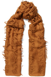 Chloé Fringed wool and silk-blend scarf