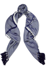 Chloé Tasseled silk and wool-blend scarf