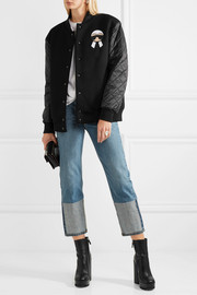 Fendi Karlito jersey and quilted shell down bomber jacket
