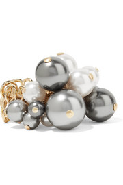 Lanvin Gold-tone faux pearl ring