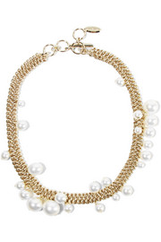 Lanvin Gold-tone faux pearl necklace