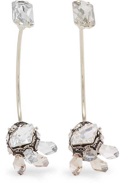 Lanvin - Gold-tone, Pewter And Swarovski Crystal Earrings - Silver