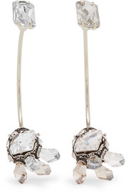 Lanvin Gold-tone, pewter and Swarovski crystal earrings