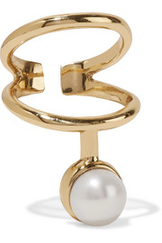 Gold-plated pearl ring