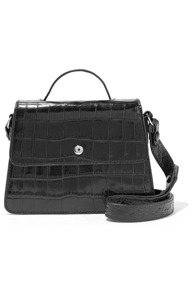 elizabeth and james female elizabeth and james eloise mini croceffect leather shoulder bag black