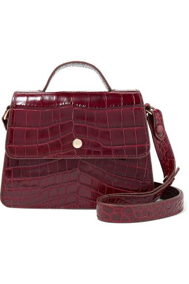 Elizabeth and James - Eloise Mini Suede-trimmed Croc-effect Leather Shoulder Bag - Burgundy