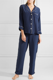 Marina printed silk-charmeuse pajama set
