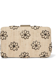 Daisy embroidered woven straw clutch