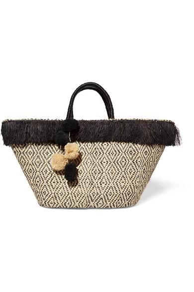 Kayu - Kahuna Pompom-embellished Fringed Woven Straw Tote - Beige