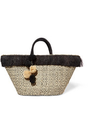 Kahuna pompom-embellished fringed woven straw tote