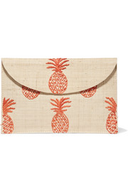 Pineapple embroidered woven straw clutch