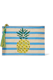 Pineapple striped woven straw pouch