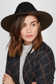 Distressed grosgrain-trimmed wool-felt fedora