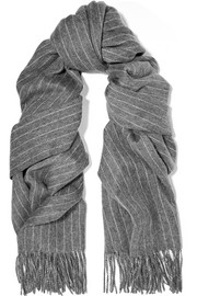Pinstriped merino wool scarf