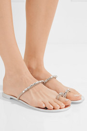 Giuseppe Zanotti Crystal-embellished mirrored-leather sandals