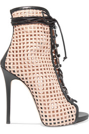 Laser-cut leather ankle boots