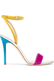 Giuseppe Zanotti Mirrored leather-trimmed suede sandals