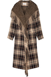 Fringed plaid wool and cotton-blend coat