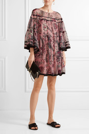 Chloé Printed silk-georgette mini dress