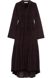 Chloé Lace-trimmed printed cotton and silk-blend crepon dress