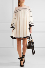 Striped silk-crepon mini dress