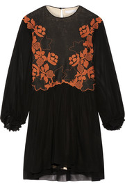 Embroidered linen and silk-chiffon mini dress