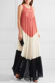 Chloé Color-block pleated silk-georgette gown