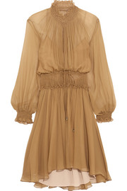 Smocked silk-crepon mini dress