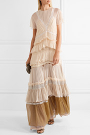 Chloé Tiered lace-trimmed silk-crepon gown