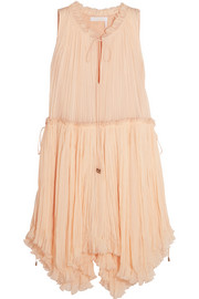 Pleated silk-crepon dress